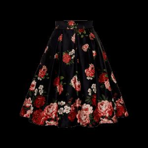 Čierna retro sukňa áčková s ružami