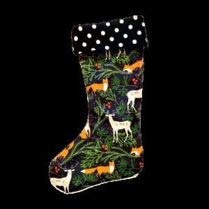 Vianočná retro ponožka lesná zver