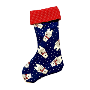 Vianočná retro ponožka polárny medveď