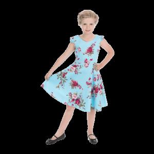 Modré dievčenské šaty s kvetmi farby lila