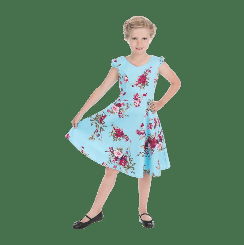 modre-detske-saty-letne-vintage-strih-posiate-kvetmi-do-skoly
