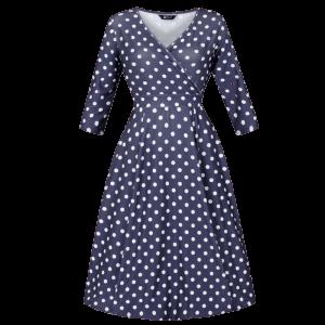 Vintage šaty na zimu modré bodkované