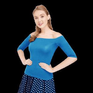 Retro tričko modré s odhalenými ramenami