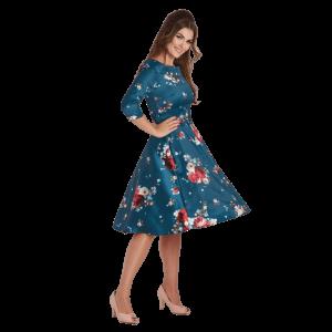 Elegantné retro šaty modré s rukávmi vhodné na párty
