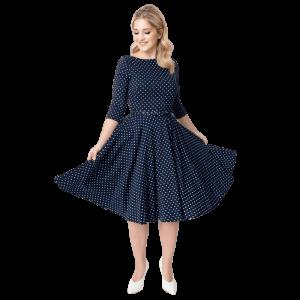 Šaty modré bodkované na zimu