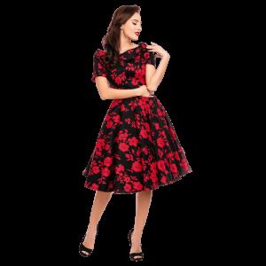 Čierne retro šaty s červenými kvetmi