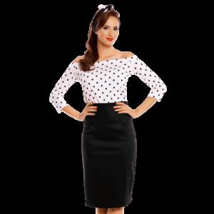 Retro tričko biele s čiernymi bodkami s odhalenými ramenami