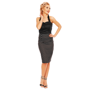 Vintage sukňa čierna s bielymi bodkami úzka