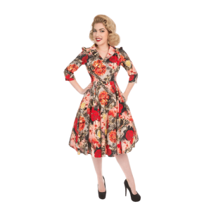 Vintage šaty s divými ružami