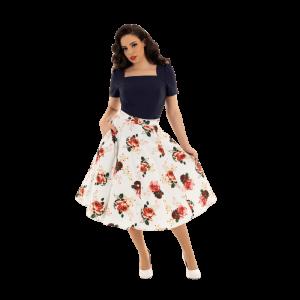 Elegantná kvetinová áčková sukňa