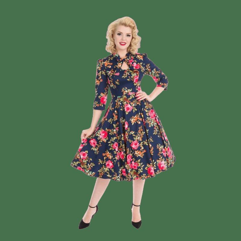 damske-retro-saty-na-zimu-kvetovane-pinup