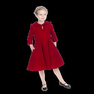 Detské zamatové šaty v červenej farbe