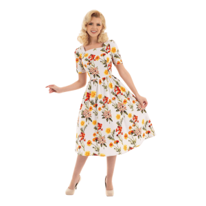 Romantické vintage šaty biele s kvetmi