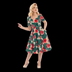 Romantické vintage šaty zelené s kvetmi