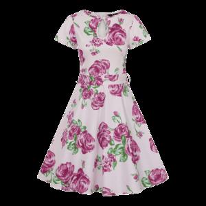 Vintage šaty Judy biele s ružami