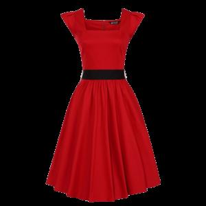 Červené šaty Scarlet s čiernou mašľou