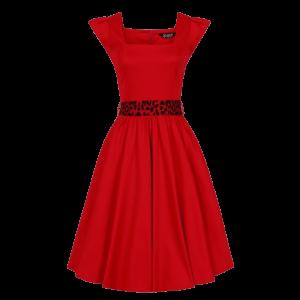 Červené šaty Scarlet s leoparďou mašľou
