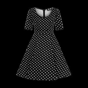 Čierne retro šaty Josie bodkované