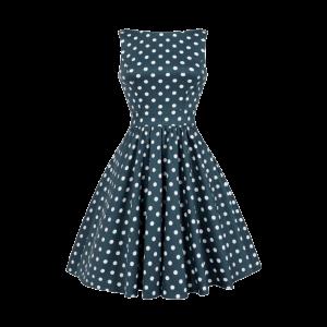Modré retro šaty Abby bodkované