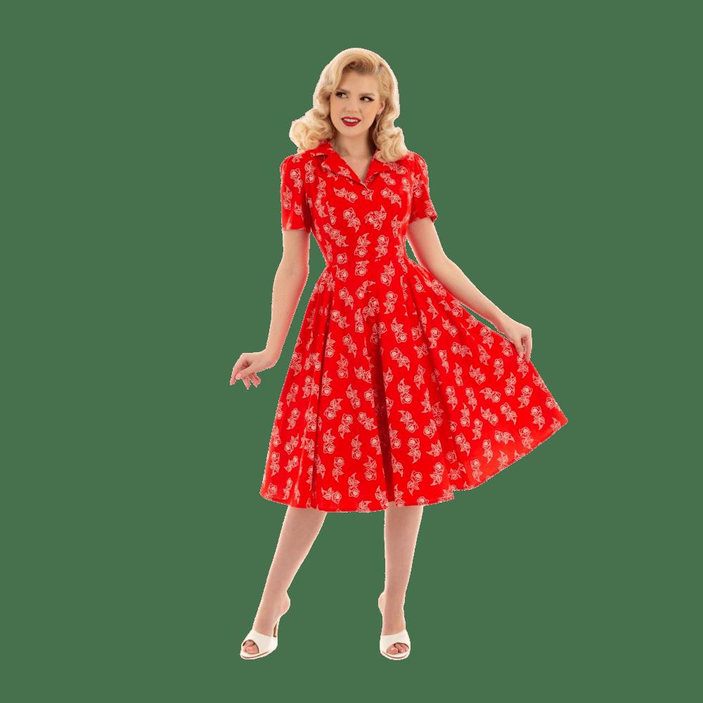 retro-saty-cervene-biele-kvety-ackova-sukna-kratky-rukav