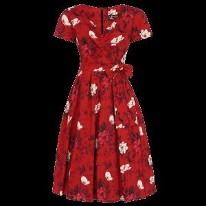 Červené šaty Iris divoké ruže