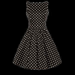 Čierne retro šaty Abby bodkované
