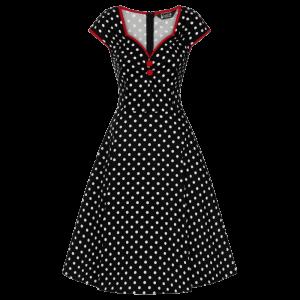 Retro šaty Isabella čierne bodkované