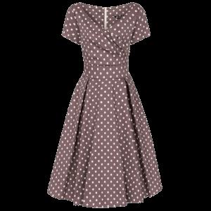 Mocha vintage šaty Jane s bodkami