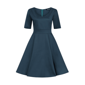 Petrolejové retro šaty Josie s rukávmi