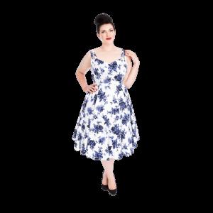 Biele romantické šaty s modrými ružami