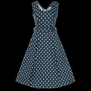 Modré šaty Charlotta s bodkami