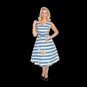 Pásikavé bielo modré šaty so slnečnicami