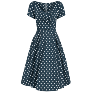 Modré vintage šaty Jane s bodkami