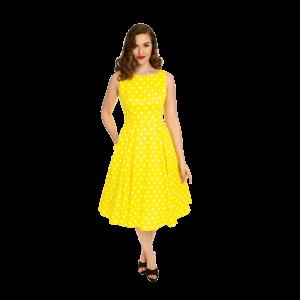 Žlté retro šaty s bielymi bodkami
