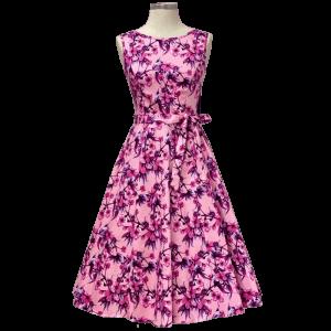 Ružové rozkvitnuté retro šaty Audry