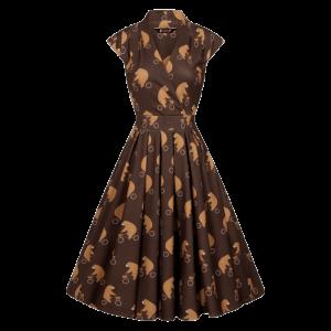 Vintage šaty Eva hnedé s medveďmi