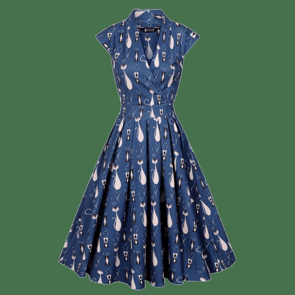 vintage-saty-eva-modre-vzor-biele-macky-romanticke