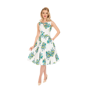 Biele šaty Clara s modrými kvetmi
