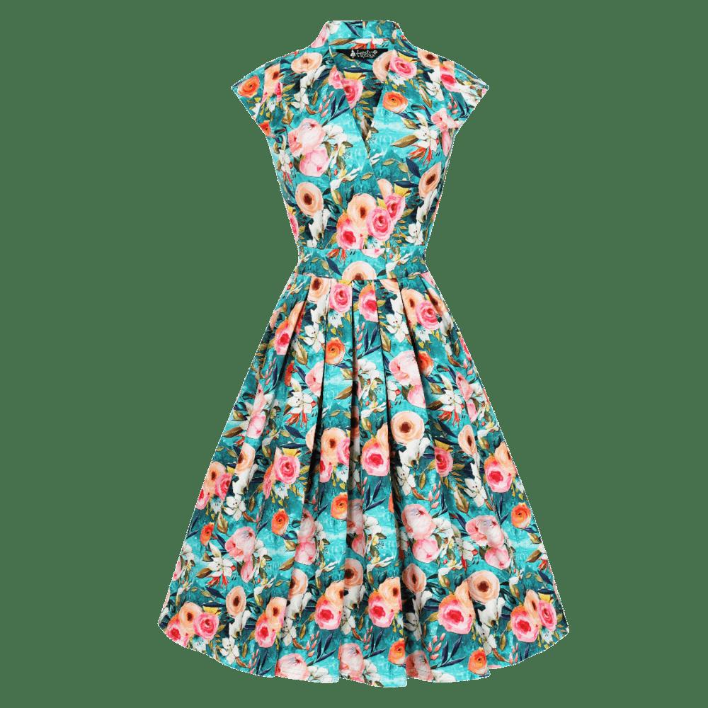 vintage-saty-zeleno-modre-bez-rukavov-malovane-ruze-eva