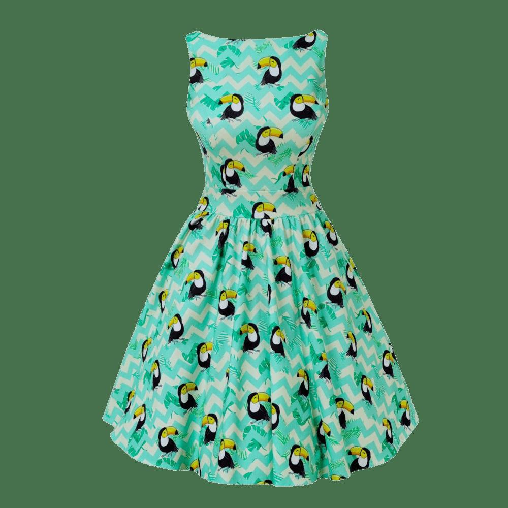 zelene-retro-saty-kratke-tukan-abby-zig-zag