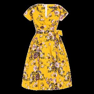 Šaty Cheryl kvety horčice