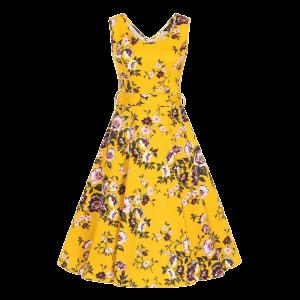 Šaty Charlotta kvety horčice
